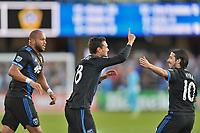 San Jose, CA - Saturday May 27, 2017: Chris Wondolowski, Jahmir Hyka during a Major League Soccer (MLS) match between the San Jose Earthquakes and the Los Angeles Galaxy at Avaya Stadium.