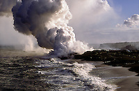 Lava Flow from Kilauea Flowing into the Sea on the East Side of the Island Forming a Plume of Steam and Noxious Gasses, Big Island, Hawaii