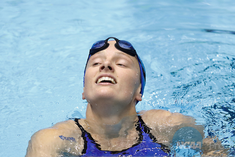12 MAR 2016:Rebecca Matthews, of Lynn, after swimming ion the 200 yard breast stroke during the Division II Men's and Women's Swimming & Diving Championship held at IU Natatorium in Indianapolis, IN.  Queens (NC) won the men's  championship with 449 points and the womens with 567.  AJ Mast/NCAA Photos