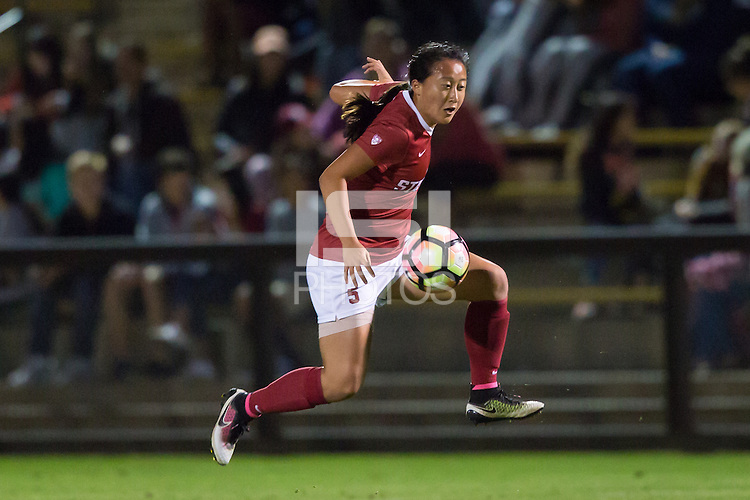 Stanford, CA - August 26, 2016:  Michelle Xiao at Laird Q. Cagan Stadium against the University of Florida. The Cardinal defeated the Gators 1-0, scoring the game's only goal in the first overtime period.