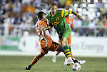 22 September 2012: Tampa Bay's Keith Savage (22) is fouled by Carolina's Amir Lowery (5). The Carolina RailHawks played the Tampa Bay Rowdies to a 0-0 tie at WakeMed Soccer Stadium in Cary, NC in a 2012 North American Soccer League (NASL) regular season game.