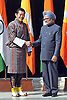"""KING AND QUEEN OF BHUTAN VISIT INDIA.The King of Bhutan, His Majesty Jigme Khesar Namgyel Wangchuck being greeted by Indian Prime Minister Dr. Manmohan Singh, at Rashtrapati Bhavan, New Delhi _25/01/2013. .King Wangchuk who was accompanied by Queen Jetsun Pema Wangchuck was the Chief Guest at the Indian Republic Day celebrations..Mandatory Photo Credit: ©Newspix International..**ALL FEES PAYABLE TO: """"NEWSPIX INTERNATIONAL""""**..PHOTO CREDIT MANDATORY!!: NEWSPIX INTERNATIONAL(Failure to credit will incur a surcharge of 100% of reproduction fees)..IMMEDIATE CONFIRMATION OF USAGE REQUIRED:.Newspix International, 31 Chinnery Hill, Bishop's Stortford, ENGLAND CM23 3PS.Tel:+441279 324672  ; Fax: +441279656877.Mobile:  0777568 1153.e-mail: info@newspixinternational.co.uk"""