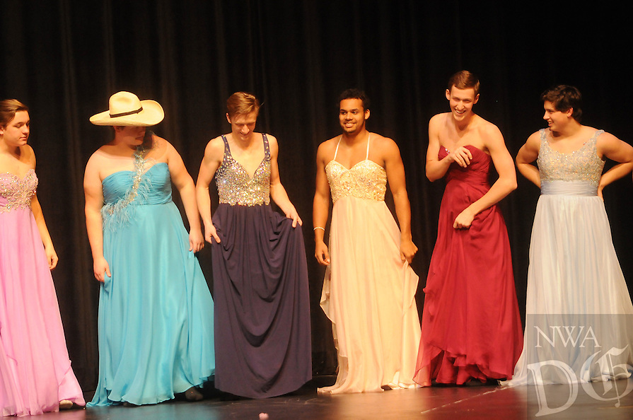 NWA Democrat-Gazette/Michael Woods --02/12/2015-- w@NWAMICHAELW...Bentonville High School students participate in the 2015 Mr Bentonville High School pageant Thursday night at the Arend Arts Center at Bentonville High School.  The fundraising event sponsored by DECA raises money for the Make A Wish Foundation Mid-South Chapter. More photos can be seen at nwadg.com/photos
