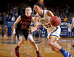 BROOKINGS, SD - MARCH 16:  Sydney Tracy #33 from South Dakota State University drives against Ally Lehman #31 from Northern Illinois during their first round WNIT game Thursday at Frost Arena in Brookings.(Photo by Dave Eggen/Inertia)
