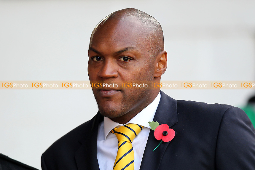 Staines Town manager Marcus Gayle looks on ahead of kick-off - Brentford vs Staines Town - FA Challenge Cup 1st Round Proper Round Football at Griffin Park, London - 09/11/13 - MANDATORY CREDIT: Gavin Ellis/TGSPHOTO - Self billing applies where appropriate - 0845 094 6026 - contact@tgsphoto.co.uk - NO UNPAID USE