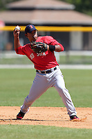 Boston Red Sox minor league player Heiker Meneses #11 during a spring training game vs the Baltimore Orioles at the Buck O'Neil Complex in Sarasota, Florida;  March 22, 2011.  Photo By Mike Janes/Four Seam Images