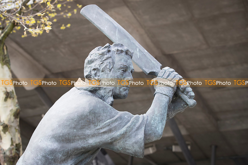Batting statue in front of the Compton Stand at Lords during Middlesex CCC vs Lancashire CCC, Specsavers County Championship Division 2 Cricket at Lord's Cricket Ground on 12th April 2019