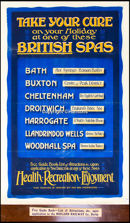 BNPS.co.uk (01202 558833)Pic: Hansons/BNPS<br /> <br /> 'Take your Cure...British spas' - Estimsted at £150-250.<br /> <br /> Vintage railway posters promoting the golden age of steam which were rescued from a station roof just before the building was demolished 54 years ago have emerged for sale for £20,000.<br /> <br /> The pristine Midland Railway posters - which date from 1910 to 1920 - were found by chance by a Cambridge undergraduate during a night out with friends in the tiny village of Edwaldton on the outskirts of Nottingham in 1964.<br /> <br /> As they walked through the old ticket office at Edwalton railway station, 22 year old Chris Hind saw some paper that had fallen through a hole in the ceiling. <br /> <br /> The next day, he returned to the station and fashioned a makeshift ladder to climb into the loft where the paper had fallen from and was amazed to discover a vast collection of about 40 posters which he has kept since then.
