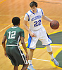 Kyle DeVerna #22 of Kellenberg, right, gets pressured by Camren Wynter #12 of Holy Trinity during the NSCHSAA varsity boys basketball semifinals at LIU Post on Sunday, Feb. 28, 2016. DeVerna recorded 11 points, five assists and five rebounds in Kellenberg's 55-49 win.