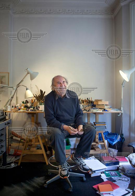 Artist Quentin Blake in his Studio in Earl's Court.