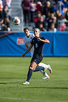 Cary, North Carolina - Sunday December 6, 2015: Maddie Elliston (5) of the Penn State Nittany Lions keeps her eyes on the ball during first half action against the Duke Blue Devils at the 2015 NCAA Women's College Cup at WakeMed Soccer Park.  The Nittany Lions defeated the Blue Devils 1-0.