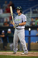 Vermont Lake Monsters catcher Jordan Devencenzi (41) at bat during the second game of a doubleheader against the Batavia Muckdogs August 11, 2015 at Dwyer Stadium in Batavia, New York.  Batavia defeated Vermont 1-0.  (Mike Janes/Four Seam Images)