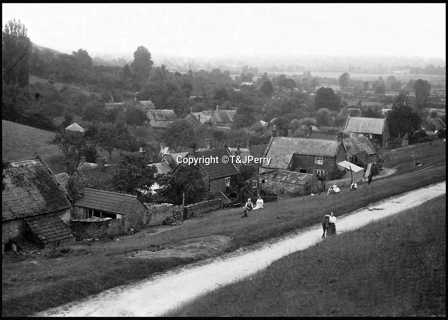BNPS.co.uk (01202 558833)<br /> Pic: T&JPerry/BNPS<br /> <br /> View over the village with people on the Common from the turn of the century.<br /> <br /> View across the little changed Somerset village of Chiselborough whoose residents have pieced together their history in photographs.<br /> <br /> A rural village's community has painstakingly put together its social history over the last 40 years, which is now going on display.<br /> <br /> Tony and June Perry first started collecting images of Chiselborough, in south Somerset, 40 years ago for the project which celebrates the village's people, traditions and buildings.<br /> <br /> Dozens of villagers have helped the couple compile 600 photos which are finally going to be shown in a new exhibition.<br /> <br /> The images, which date back to the 1860s, highlight many notable events in Chiselborough's history including the fire of 1890 which saw the pub burn down.<br /> <br /> Other photos show the silver jubilee party of 1935, a school fancy dress day in 1954 and the renovation of the village's 12th century church in 1971.<br /> <br /> Situated on the River Parrett, Chiselborough is five miles west of Yeovil and has a population of just 275 people.