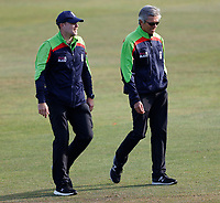 Ex Kent players Martin Saggers (L) and Nigel llong on umpiring duty during Kent Spitfires vs Essex Eagles, Vitality Blast T20 Cricket at The Spitfire Ground on 18th September 2020