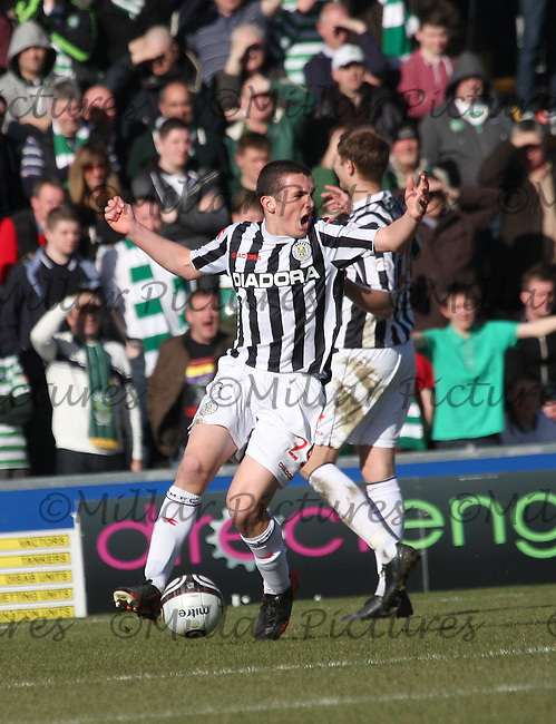 John McGinn angry at the foul given against him in the St Mirren v Celtic William Hill Scottish Cup Quarter Final match played at St Mirren Park, Paisley on 2.3.13.