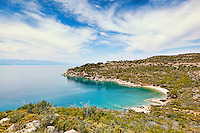 A small beach on the west side of Spetses island, Greece