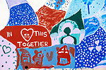 """TORRINGTON , CT-080320JS05—A painted section of a mural during a camp for young campers through ASAP! which allows artists to express their vision on the """"Together We Dream"""" mural panels in Torrington on Monday. <br /> Jim Shannon Republican-American"""