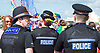 Brighton Pride 2017 <br /> Brighton Seafront and through the town towards Preston Park. <br /> East Sussex, Great Britain <br /> 5th August 2017 <br /> <br /> Brighton Pride <br /> Police wear rainbow flag pattern ribbons <br /> <br /> Photograph by Elliott Franks <br /> Image licensed to Elliott Franks Photography Services
