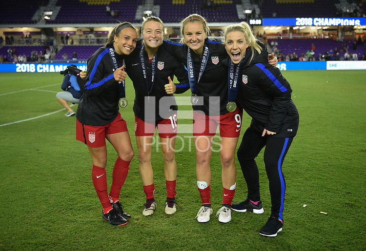 Orlando City, FL - Wednesday March 07, 2018: Mallory Pugh, Emily Sonnett, Lindsey Horan, Julie Ertz during a 2018 SheBelieves Cup match between the women's national teams of the United States (USA) and England (ENG) at Orlando City Stadium.