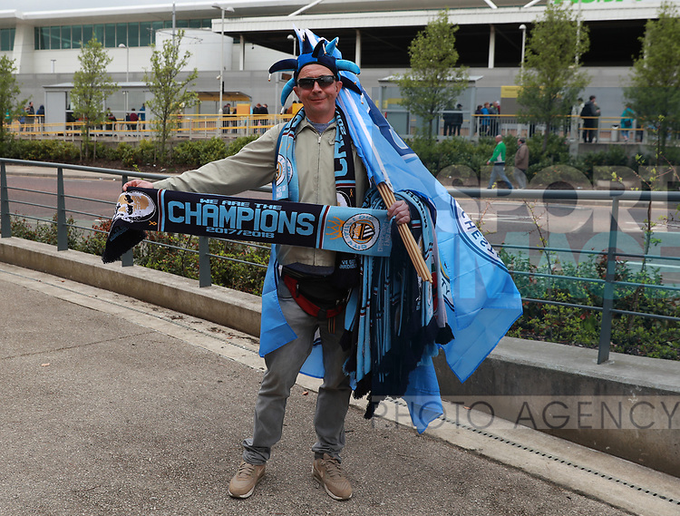 Champions scarves on sale during the premier league match at the Etihad Stadium, Manchester. Picture date 22nd April 2018. Picture credit should read: Simon Bellis/Sportimage