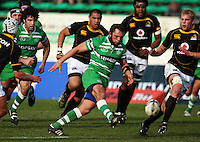 Manawatu openside Doug Tietjens kicks ahead during the Air NZ Cup preseason match between Manawatu Turbos and Wellington Lions at FMG Stadium, Palmerston North, New Zealand on Friday, 17 July 2009. Photo: Dave Lintott / lintottphoto.co.nz