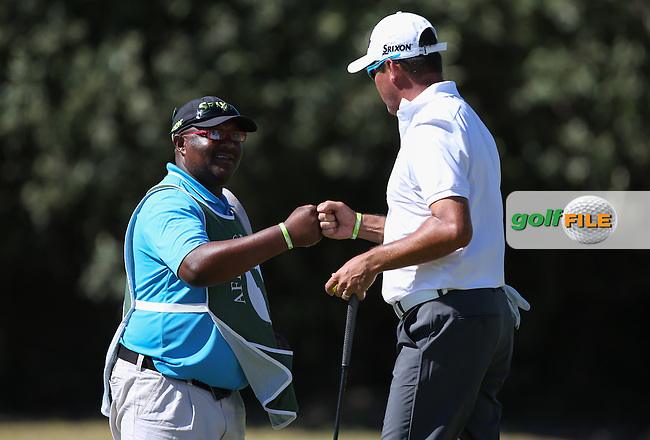 Partnership, Pat gives advice and Wallie Coetsee (RSA) executes it for a birdie on the 10th during Round Three of the Africa Open 2015 at the East London Golf Club, East London, Eastern Cape, South Africa. Picture:  David Lloyd / www.golffile.ie. 07/03/2015
