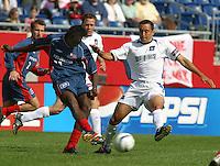 New England's Shairie Joseph, left, San Jose's Ramiro Corrales, right, San Jose vs. New England, Foxboro, Ma, May 3, 2003. San Jose won 2-0.