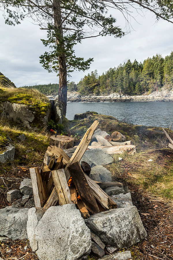 Campfire on an island off the Sunshine Coast of British Colombia, Canada.
