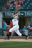 Chris Givin (4) of the Fort Wayne TinCaps follows through on his swing against the Bowling Green Hot Rods at Parkview Field on August 20, 2019 in Fort Wayne, Indiana. The Hot Rods defeated the TinCaps 6-5. (Brian Westerholt/Four Seam Images)