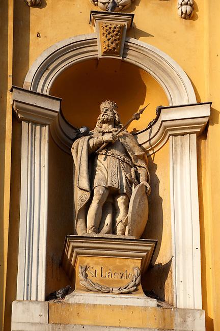 Baroque statue on the Great Church ( Nagy Templom) , Hungary Kecskemét