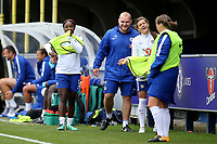 Eniola Aluko of Chelsea who was named as a substitute puts on her bib and gets ready to warm up during Chelsea Ladies vs Liverpool Ladies, FA Women's Super League FA WSL1 Football at Kingsmeadow on 7th October 2017