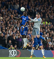 Antonio Rudiger of Chelsea beats Wayne Rooney of Everton in the air during the Carabao Cup round of 16 match between Chelsea and Everton at Stamford Bridge, London, England on 25 October 2017. Photo by Andy Rowland.