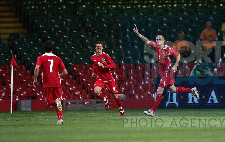 James Collins of Wales celebrates scoring his goal