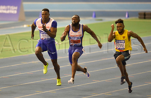 27.02.2016. EIS Sheffield, Sheffield, England. British Indoor Athletics Championships Day One. Tight start between Harry Aitkins Aryeetey, Ade Adewale and Theo Etienne in their 60m Semi-Final.