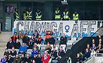 Stockholm 2015-04-25 Fotboll Allsvenskan Hammarby IF - &Aring;tvidabergs FF :  <br /> &Aring;tvidabergs supportrar med en banderoll med texten &quot; Charmiga &Aring;FF &quot; under matchen mellan Hammarby IF och &Aring;tvidabergs FF <br /> (Foto: Kenta J&ouml;nsson) Nyckelord:  Fotboll Allsvenskan Tele2 Arena Hammarby HIF Bajen &Aring;tvidaberg &Aring;FF supporter fans publik supporters