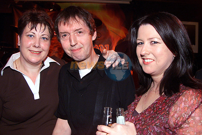 Marguret Gallagher and Trisha Neary with Johnny Fean from the Horseslips  in McPhils...Pic Newsfile