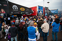 Mar 17, 2019; Gainesville, FL, USA; Fans surround the pit area of NHRA top fuel driver Leah Pritchett during the Gatornationals at Gainesville Raceway. Mandatory Credit: Mark J. Rebilas-USA TODAY Sports