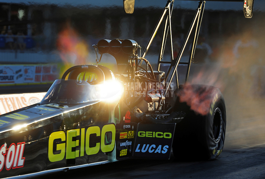 Sept. 18, 2011; Ennis, TX, USA: NHRA top fuel dragster driver Morgan Lucas during qualifying for the Fall Nationals at the Texas Motorplex. Mandatory Credit: Mark J. Rebilas-