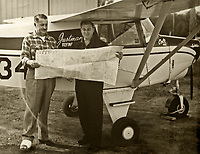George Justman and one of his certified flight instructors at the Petaluma Sky Ranch Airport, Petaluma, Sonoma County, California