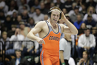 STATE COLLEGE, PA - FEBRUARY 16: Chris Perry of the Oklahoma State Cowboys celebrates after winning his 174 pound match against Matt Brown of the Penn State Nittany Lions on February 16, 2014 at Rec Hall on the campus of Penn State University in State College, Pennsylvania. Penn State won 23-12. (Photo by Hunter Martin/Getty Images) *** Local Caption *** Chris Perry;Matt Brown