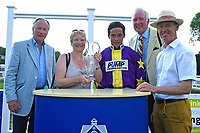 Connections of Ashazuri collect their trophy for winning  The Shadwell Stud Racing Excellence Apprentice Handicap, during Father's Day Racing at Salisbury Racecourse on 18th June 2017
