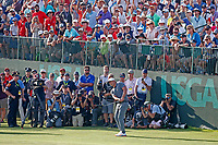 Brooks Koepka (USA) chips on the 18th hole during the 118th U.S. Open Championship at Shinnecock Hills Golf Club in Southampton, NY, USA. 17th June 2018.<br /> Picture: Golffile | Brian Spurlock<br /> <br /> <br /> All photo usage must carry mandatory copyright credit (&copy; Golffile | Brian Spurlock)