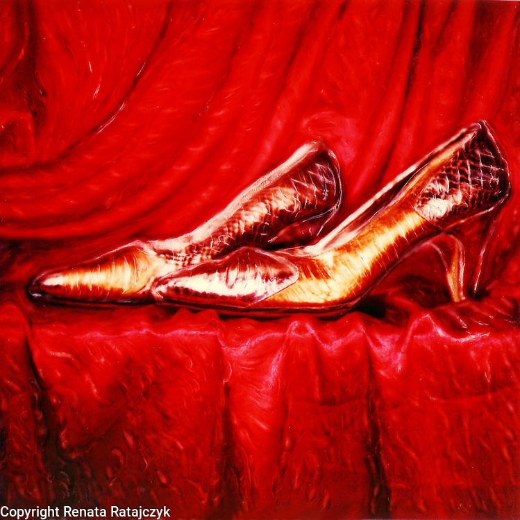 Golden Shoes - still life - Polaroid SX-70