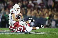 Jan 7, 2010; Pasadena, CA, USA; Texas Longhorns wide receiver Jordan Shipley (8) is tackled by Alabama Crimson Tide defensive back Robby Green (23) during the third quarter of the 2010 BCS national championship game at the Rose Bowl.  Mandatory Credit: Mark J. Rebilas-