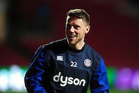 Rhys Priestland of Bath Rugby looks on during the pre-match warm-up. European Rugby Challenge Cup match, between Bristol Rugby and Bath Rugby on January 13, 2017 at Ashton Gate Stadium in Bristol, England. Photo by: Patrick Khachfe / Onside Images
