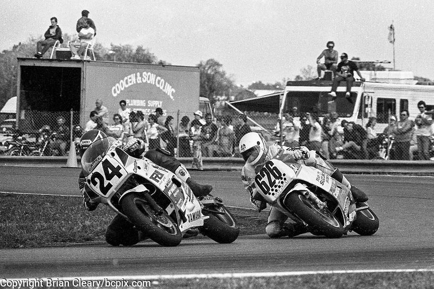 Rueben McMurter (#24 Yamaha), Anders Andersson (#626 Suzuki), Daytona 200, Daytona International Speedway, March 8, 1987.  (Photo by Brian Cleary/bcpix.com)