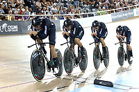 CAMBRIDGE, NEW ZEALAND - JANUARY 18: New Zealand compete in the Men's Team Pursuit during the 2018 UCI Track World Cup on January 18, 2019 in Cambridge, New Zealand.