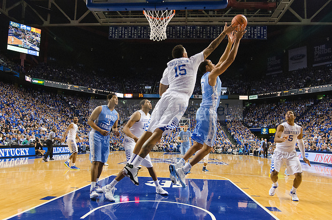 Center Willie Cauley-Stein of the Kentucky Wildcats fights for a rebound during the first half of the game against  the North Carolina Tar Heels at Rupp Arena on Saturday, December 13, 2014 in Lexington, Ky. Kentucky defeated North Carolina 84-70. Photo by Michael Reaves | Staff