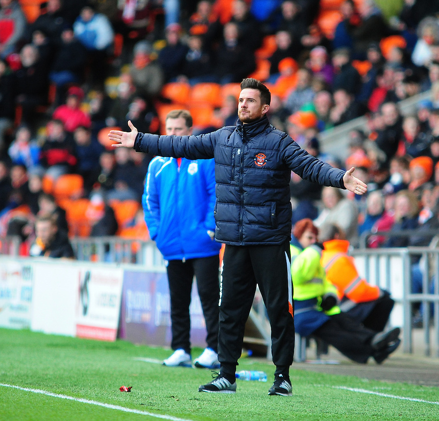 Blackpool's Manager Barry Ferguson <br /> <br /> Photo by Chris Vaughan/CameraSport<br /> <br /> Football - The Football League Sky Bet Championship - Blackpool v Huddersfield Town - Saturday 22nd March 2014 - Bloomfield Road - Blackpool<br /> <br /> &copy; CameraSport - 43 Linden Ave. Countesthorpe. Leicester. England. LE8 5PG - Tel: +44 (0) 116 277 4147 - admin@camerasport.com - www.camerasport.com
