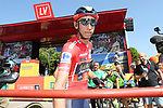 New race leader Dylan Teuns (BEL) Bahrain-Merida at sign on before Stage 7 of La Vuelta 2019 running 183.2km from Onda to Mas de la Costa, Spain. 30th August 2019.<br /> Picture: Luis Angel Gomez/Photogomezsport | Cyclefile<br /> <br /> All photos usage must carry mandatory copyright credit (© Cyclefile | Luis Angel Gomez/Photogomezsport)